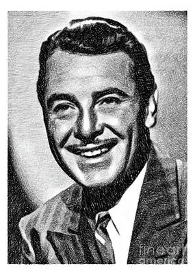 Musicians Drawings Rights Managed Images - George Brent, Vintage Actor by JS Royalty-Free Image by John Springfield