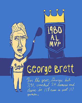 Baseball Paintings - George Brett KC Royals by Jay Perkins