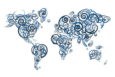 University Digital Art - George Brown College Colors Swirl Map Of The World Atlas by Jurq Studio