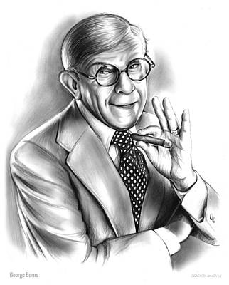 Burn Drawing - George Burns by Greg Joens