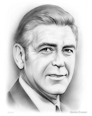 Celebrity Drawing - George Clooney by Greg Joens