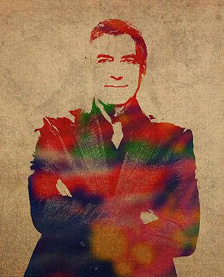 George Clooney Watercolor Portrait Art Print