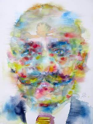 Yogi Painting - George Gurdjieff - Watercolor Portrait by Fabrizio Cassetta