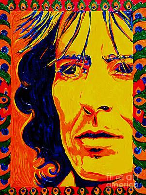 Sgt Pepper Beatles Painting - George Harrison Beatles 70's by Margaret Juul