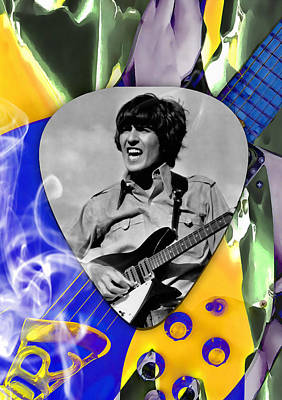 Mixed Media - George Harrison Beatles Art by Marvin Blaine