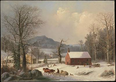 Country Schools Digital Art - George Henry Durrie    Red School House Country Scene by Anne Pool
