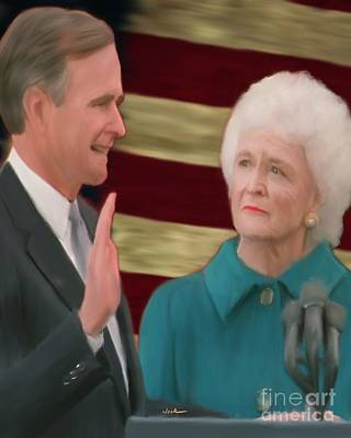 George Bush Painting - George Hw Bush Inauguration  by Jack Bunds