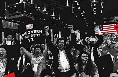 George Mcgovern Supporters Democratic Nat'l Convention Miami Beach Florida 1972-2008 Print by David Lee Guss