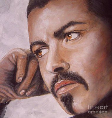 Painting -  Up Close George Michael  by Patrice Torrillo