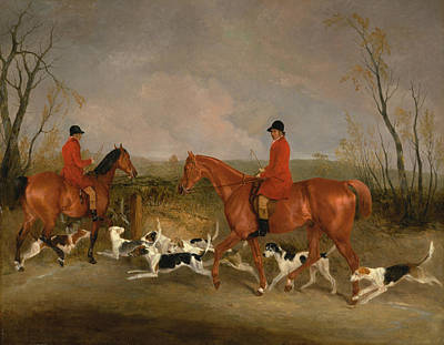 Painting - George Mountford, Huntsman To The Quorn, And W. Derry, Whipper-in by Richard Barrett Davis