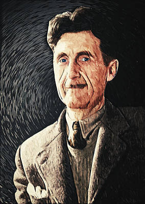 Police Art Digital Art - George Orwell by Taylan Apukovska