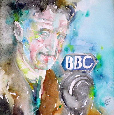 Painting - George Orwell - Watercolor Portrait.7 by Fabrizio Cassetta