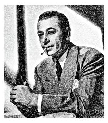Musicians Drawings - George Raft, Vintage Actor by JS by John Springfield