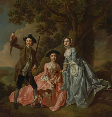 Painting - George Rogers And His Wife, Margaret, And His Sister, Margaret Rogers by Francis Hayman