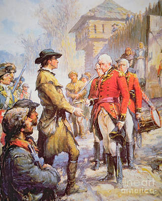 Colonial Troops Painting - George Rogers Clark Accepts The Surrender Of British Commander Henry Hamilton At Fort Sackville by Newell Convers Wyeth