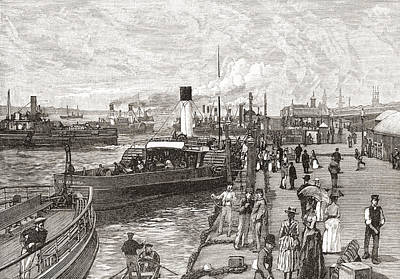 Dock Drawing - George S Landing Stage, Liverpool by Vintage Design Pics