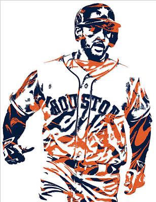 Astros Mixed Media - George Springer Houston Astros Pixel Art 1 by Joe Hamilton