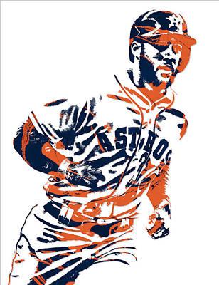 Astros Mixed Media - George Springer Houston Astros Pixel Art 2 by Joe Hamilton