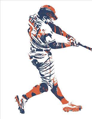 Mixed Media - George Springer Houston Astros Pixel Art 30 by Joe Hamilton