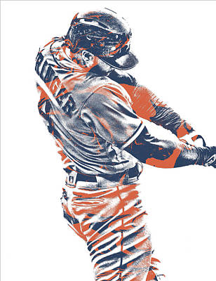 Mixed Media - George Springer Houston Astros Pixel Art 33 by Joe Hamilton