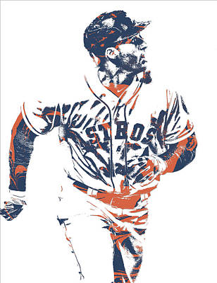 Mixed Media - George Springer Houston Astros Pixel Art 34 by Joe Hamilton
