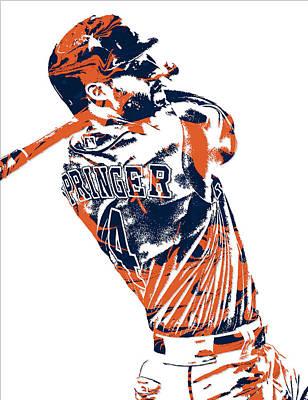 Astros Mixed Media - George Springer Houston Astros Pixel Art 4 by Joe Hamilton