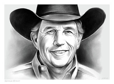 Landmark Drawing - George Strait by Greg Joens