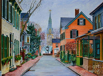 Victorian Era Wall Art - Painting - George Street, Lambertville by Anthony Butera