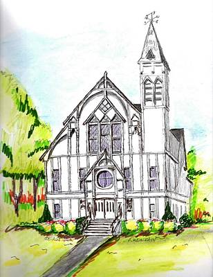 Drawing - George Town Church  by Paul Meinerth