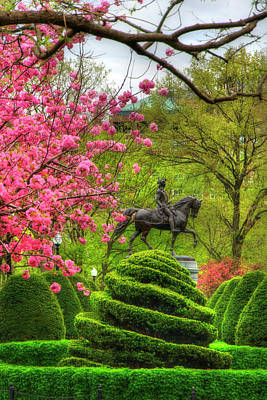 Politicians Royalty-Free and Rights-Managed Images - George Washing Monument  - Boston Public Garden in Spring by Joann Vitali