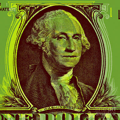 Art Print featuring the digital art George Washington - $1 Bill by Jean luc Comperat