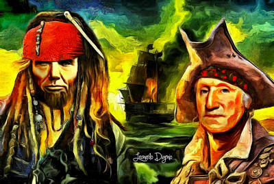 Lincoln Painting - George Washington And Abraham Lincoln The Pirates by Leonardo Digenio