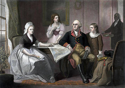 Patriot Mixed Media - George Washington And His Family by War Is Hell Store