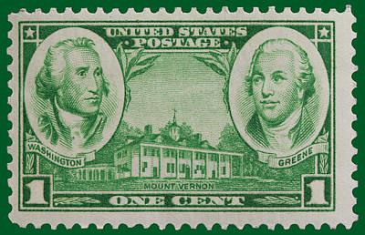 George Washington And Nathanael Greene Postage Stamp Art Print by James Hill