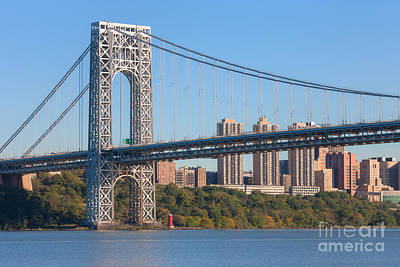 Little Red River Photograph - George Washington Bridge And Lighthouse II by Clarence Holmes
