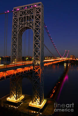 George Washington Bridge At Night Art Print by Zawhaus Photography