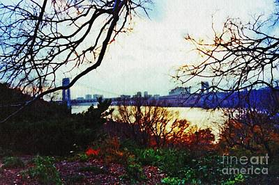 Politicians Royalty-Free and Rights-Managed Images - George Washington Bridge at Sunset 2 by Sarah Loft