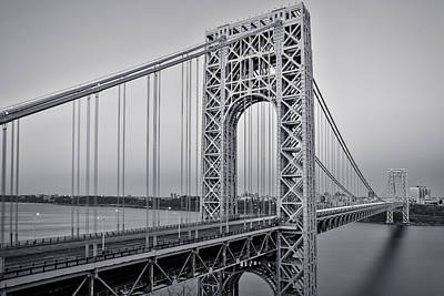 Empire State Photograph - George Washington Bridge End Of Day Bw by Susan Candelario