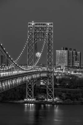 City Photograph - George Washington Bridge Full Moonrise Bw by Susan Candelario