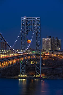Little Red River Photograph - George Washington Bridge Full Moonrise by Susan Candelario