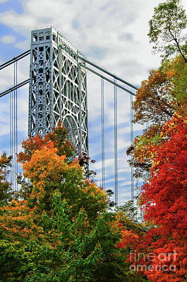 Politicians Royalty-Free and Rights-Managed Images - George Washington Bridge in Autumn by Regina Geoghan