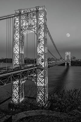 Photograph - George Washington Bridge Moon Rising Bw by Susan Candelario