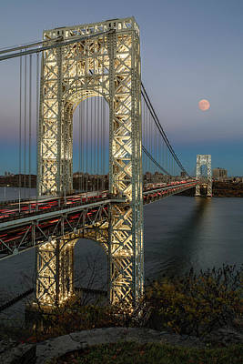 Supermoon Photograph - George Washington Bridge Moon Rising by Susan Candelario