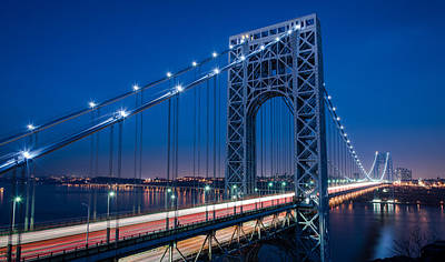 Photograph - George Washington Bridge Night Scenes by Michael Santos