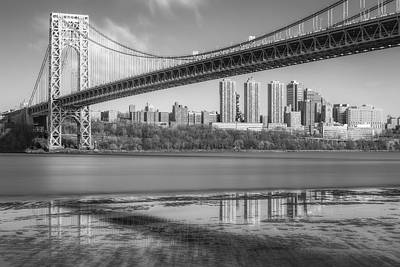 Photograph - George Washington Bridge Nyc Reflections Bw by Susan Candelario