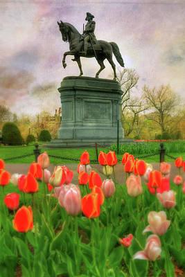 George Washington In The Boston Public Garden Art Print by Joann Vitali