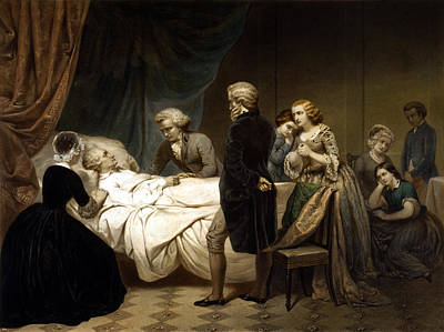 Landmarks Painting Royalty Free Images - George Washington On His Deathbed Royalty-Free Image by War Is Hell Store