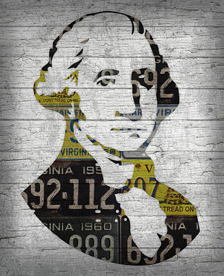 George Washington Mixed Media - George Washington Presidential Portrait In Recycled Vintage Virginia License Plates On Wood by Design Turnpike