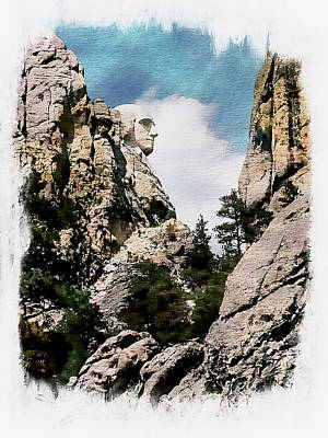 George Washington Photograph - George Washington Profile - Mount Rushmore by Joseph Hendrix
