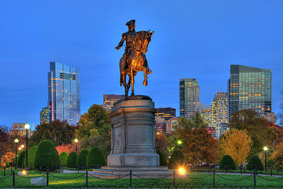 Boston Public Garden Photograph - George Washington Statue - Boston Public Garden At Night by Joann Vitali